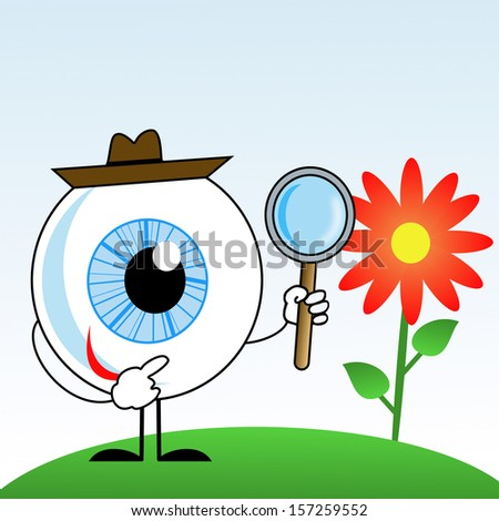human eye in hat with magnifying glass in hands, illustration on a white background - stock photo