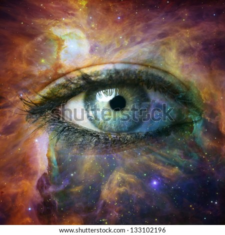 "Human eye looking in Universe - ""Elements of this image furnished by NASA"" - stock photo"