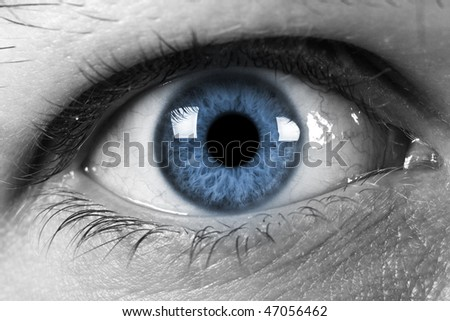 Human eye with blue pupil - stock photo