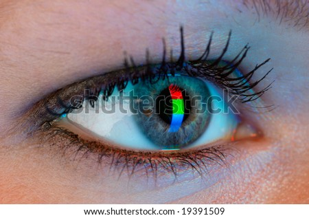 Human eye with RGB-signal reflection. Very high rezolution. - stock photo