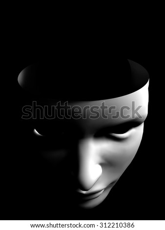 human face like mask conceptual image on black background - stock photo