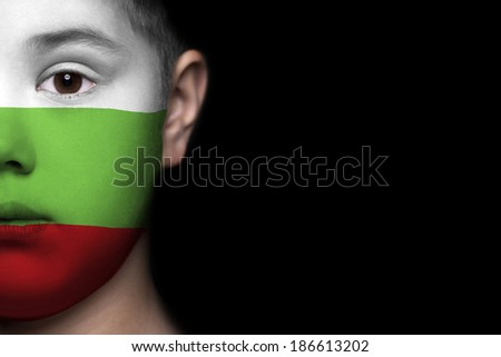 Human face painted with flag of Bulgaria - stock photo