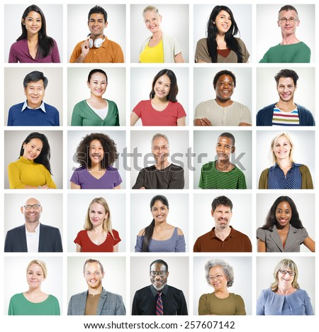 Human Face Set of Faces Collection Diversity Concept - stock photo