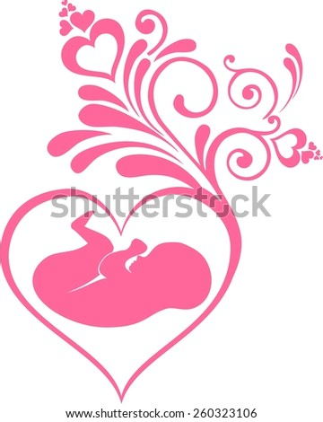Human fetus inside the womb. Illustration  - stock photo