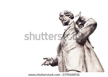 Human figure that looking down - concept image on white background  - stock photo