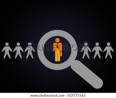 Human figures and symbols of social communication - stock photo