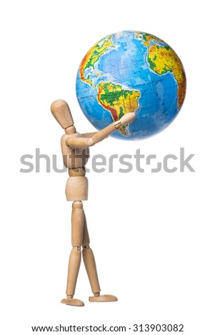 Human figures holding hands Globe