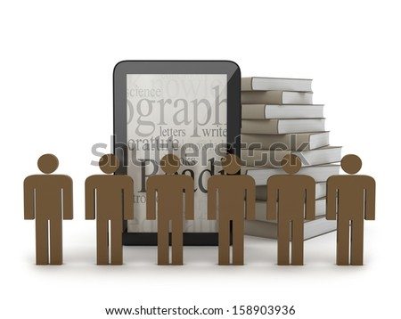 Human figures in front of tablet computer and books - stock photo