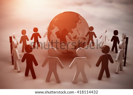 Human figures surround earth against cloudy sky - stock photo