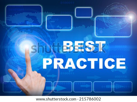 Human finger pressing high tech glowing modern best practice  interface touch screen button on abstract blue technology digital background - stock photo
