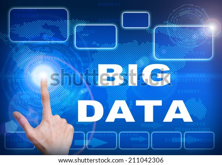 Human finger pressing high tech glowing modern big data interface touch screen button on abstract blue technology digital background - stock photo