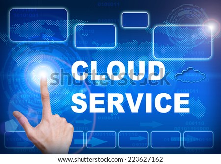 Human finger pressing high tech glowing modern cloud service interface touch screen button on abstract blue technology digital background - stock photo