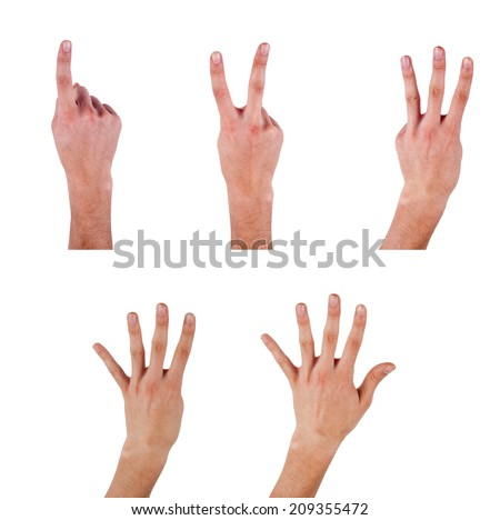 Human Finger Symbols  One to Five Different male hand