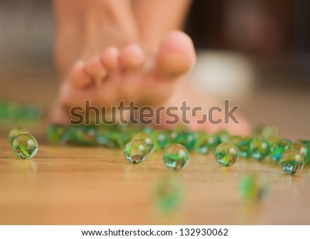 Human Foot Over Marble, Indoors - stock photo
