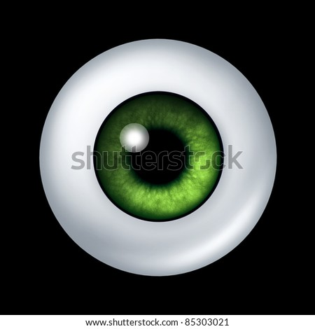 Human green eye ball organ with iris and retina lens representing the body part of sight and the medical profession of optometry to see if eye glasses or contact lenses are medically prescribed. - stock photo