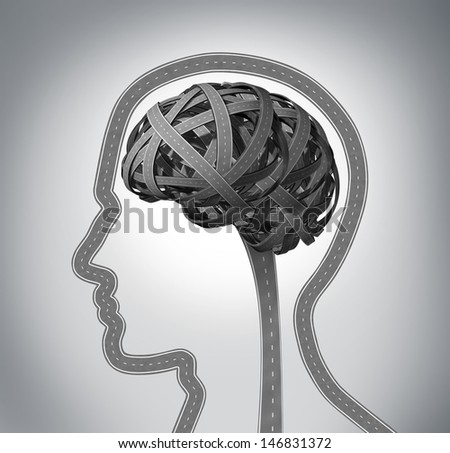 Human guidance and memory loss due to Dementia and Alzheimer's disease as a group of three dimensional roads shaped as a human head and brain tangled in a confused direction mind function concept. - stock photo