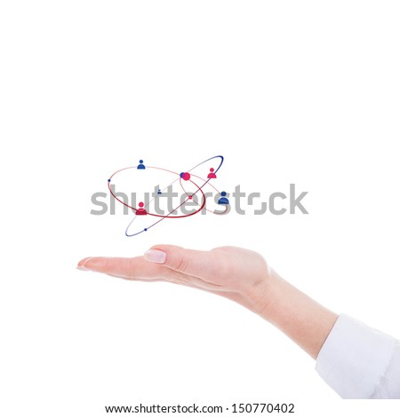 Human hand and social network scheme - stock photo
