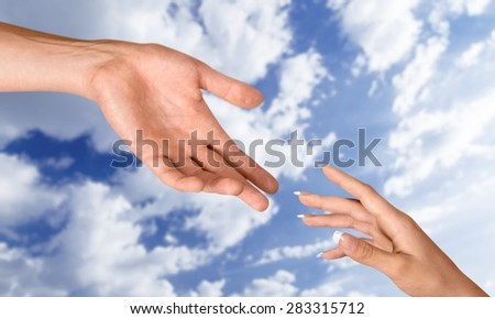 Human Hand, Assistance, A Helping Hand. - stock photo