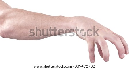 Human Hand Catching an Invisible Object - Isolated