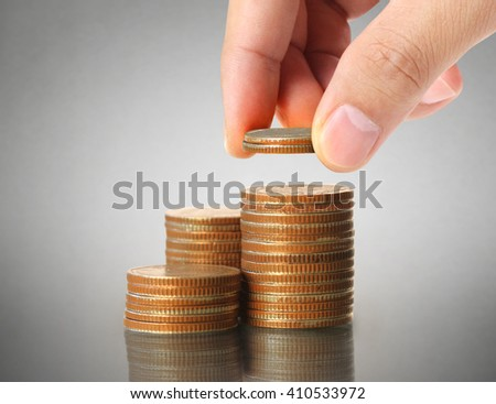 Human Hand coin to money, business ideas