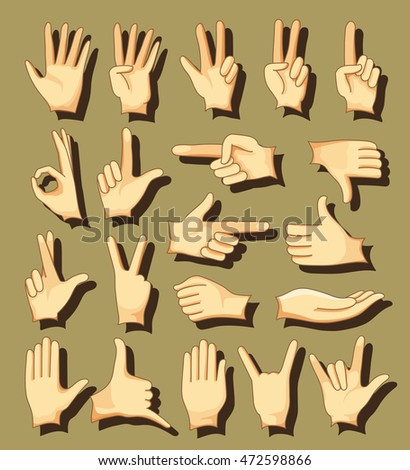 Human Hand collection, different hands, gestures, signals and signs. icon set