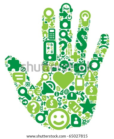 Human hand concept. Made of 100 icons set in green colors. Raster version. For vector version of this image, see my portfolio. - stock photo