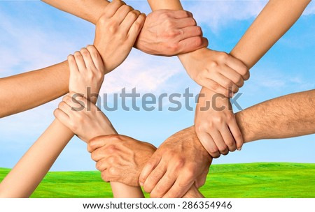 Human Hand, Connection, Teamwork. - stock photo