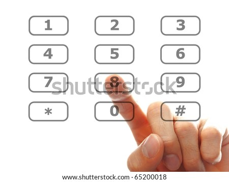human hand dial a number isolated on white background
