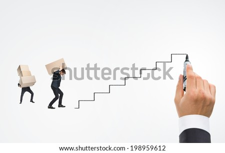 Human hand drawing career ladder with felt pen - stock photo