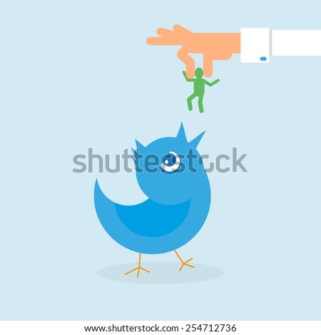 Human hand feeds blue bird. Conceptual illustration - stock photo
