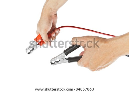Human hand giving to charge battery - stock photo
