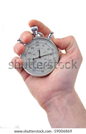 human hand holding a silver stop-watch, isolated on white background, vertical photo - stock photo