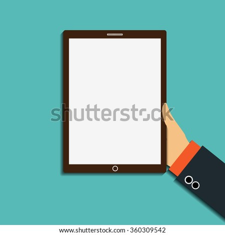 Human hand holding a tablet with a white screen. Stock illustration. - stock photo