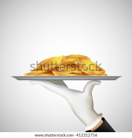Human hand holding a tray with gold coins. Earnings and dividends. Stock illustration. - stock photo