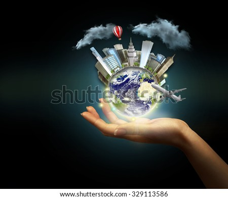 Human hand holding digital icon of planet earth.  - stock photo