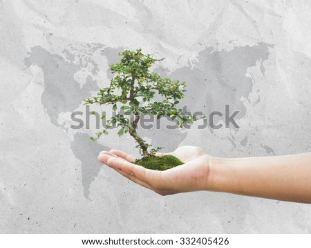 Human hand holding medium green plant with soil over world map. Ecology, World Environment, Tree of Knowledge concept. - stock photo
