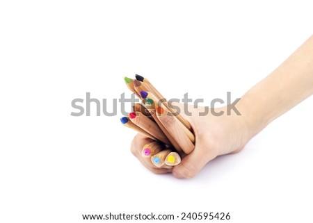 human hand holding pencils - stock photo