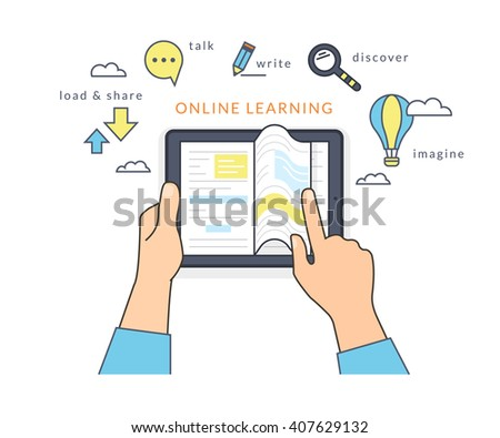 Human hand holds a tablet pc and reading ebook on the screen. Flat line contour illustration of online reading book and learning with symbol such as talk and share, read and imagine - stock photo