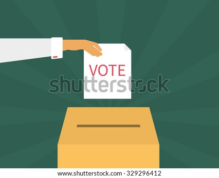 Human hand holds a voting paper over container. Text outlined - stock photo
