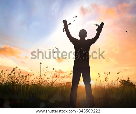 Human hand in chain with bird flying. Abolition Slavery Right Liberate Unlock Sick Prisoner Slave Broken Risk Shackles Free Demon Flee Load Sin Win War Self World Press Amnesty Life God Slave Day - stock photo