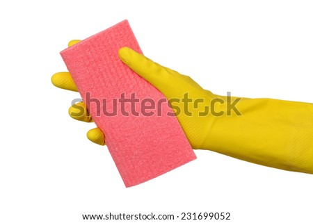Human hand in glove holding sponge rag, dish rag isolated on white - stock photo