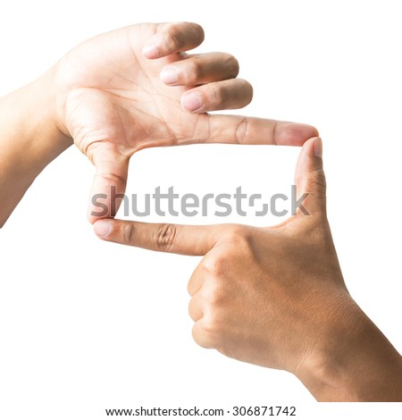 Human hand in the act of symbol that means frame isolated on white background with clipping path