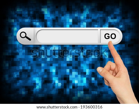 Human hand indicates the search bar in browser. Abstract computer background