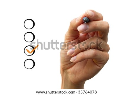 Human hand is chooising between different options. - stock photo