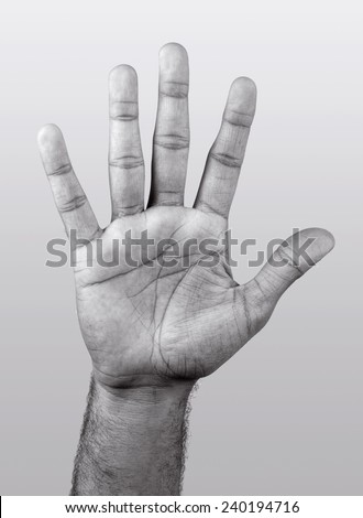 Human hand isolated,black and white   - stock photo