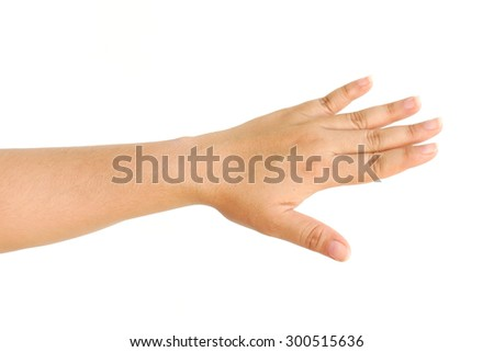 Human hand isolated on white background