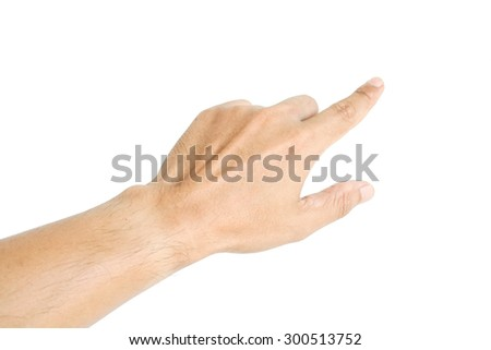 Human hand point something isolated on white background