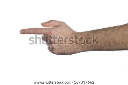 Human hand point with finger - stock photo