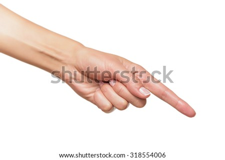 Human hand point with finger isolated on white. - stock photo