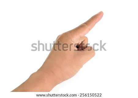 Human hand pointing on white background. Select focus on fingertip. - stock photo